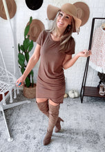 Load image into Gallery viewer, Ruched Shirt Dress Mini Detail, Free Shipping!