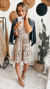 Leading The Way Leopard Print Dress Tan, Free Shipping!