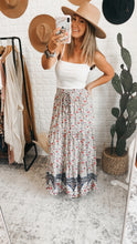 Load image into Gallery viewer, Harbor Boho Navy and Olive Floral Maxi Skirt, Free Shipping