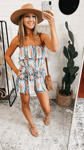 Santa Ana Abstract Off-the-Shoulder Flounce Bodice Romper, Free Shipping!