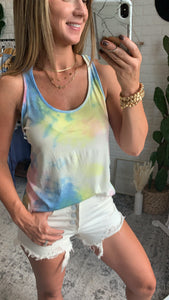Taking It Easy Tie Dye Twist Back Tank Top, Free Shipping!