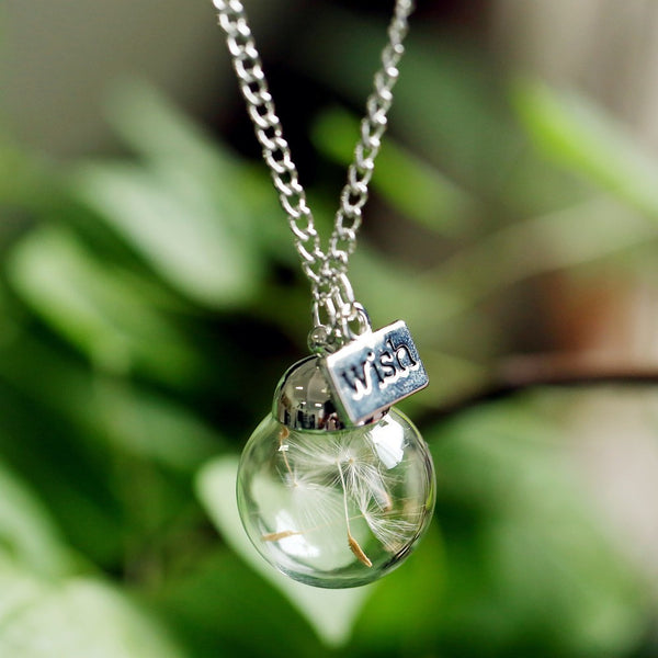 Make A Wish Necklace - Glass Bead Orb silver plated Necklace Natural dandelion seed in glass