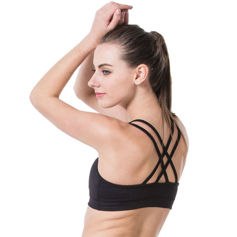 Yoga Sports Bra - Women's Light Support Cross Back Wirefree Padded Yoga Sports Bra