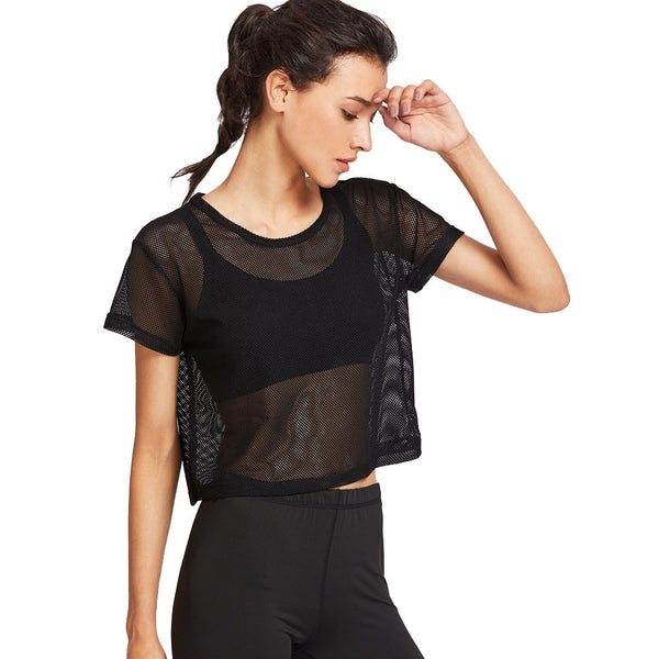 Cover Up Sports Short Sleeve Black Sheer Mesh Yoga T shirt