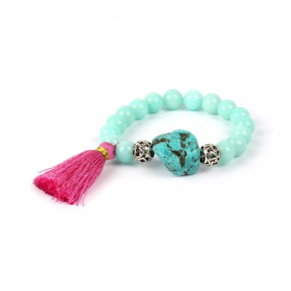 Healing Bracelet - Tassel Healing with Natural Stone Beads for Chakra and Meditation