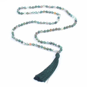 Mala Beads Necklace - Long Collier Mala Vintage with Natural Stone, Bohemian Style for Meditation Buddhist