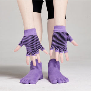 Yoga Socks and Gloves Set Non Slip Grip with Silicone Dots