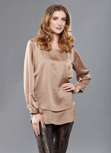 Mocha Satin Blouse - Crazy Peacock Boutique
