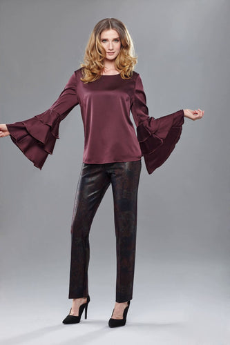 Burgandy Satin Flair - Crazy Peacock Boutique