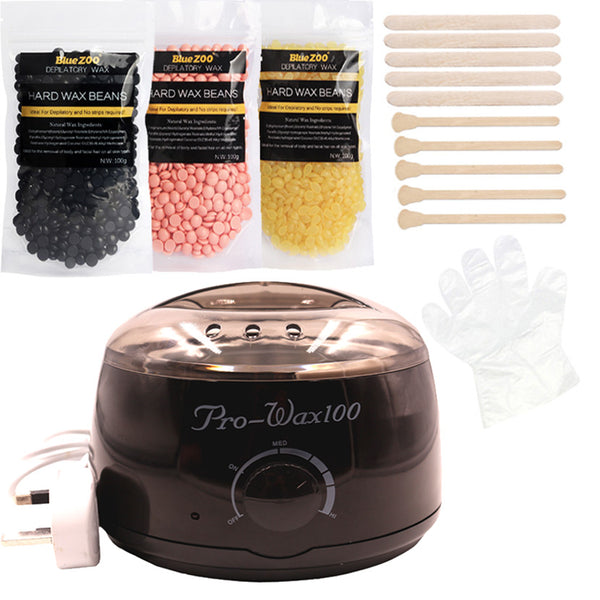 Salon Waxing, In The Privacy Of Your Own Home! :o Bean & Warmer Kettle Bundle, Generous 3-Bag, 300g Supply! Neutral Tones Set.