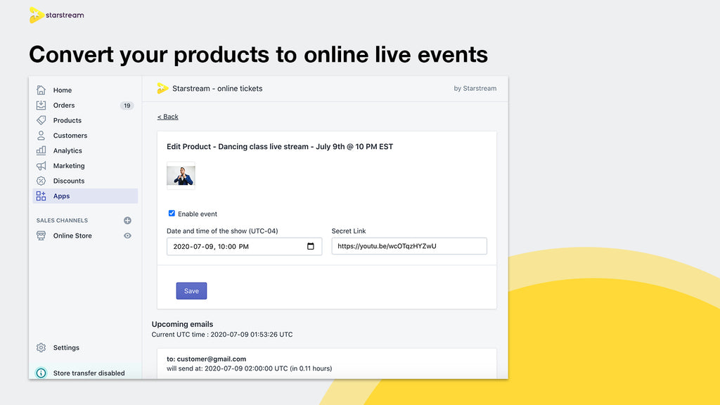 Convert your shopify products to live stream events