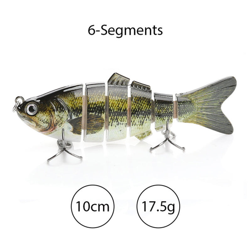 Travis Fishing Lures, Pack of 2, 6 Segment, 4 Inch Lifelike Multi Jointed Artificial Swimbait