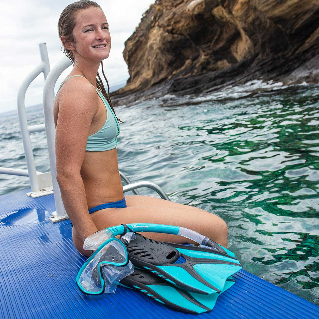 woman-wearing-seavenger-snorkeling-gear-at-the-beach