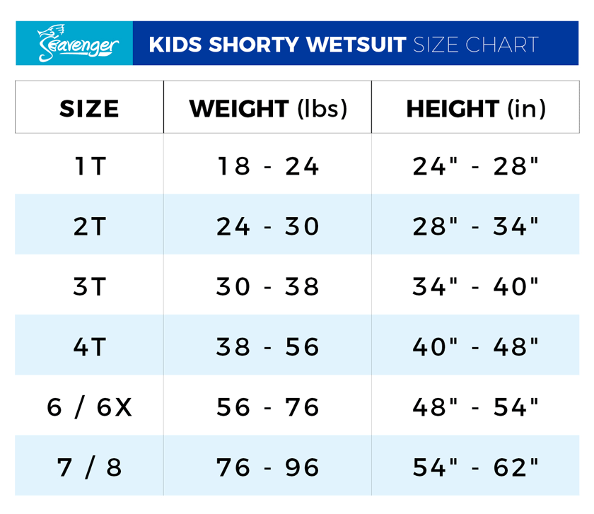 Seavenger Kids' Shorty Size Chart