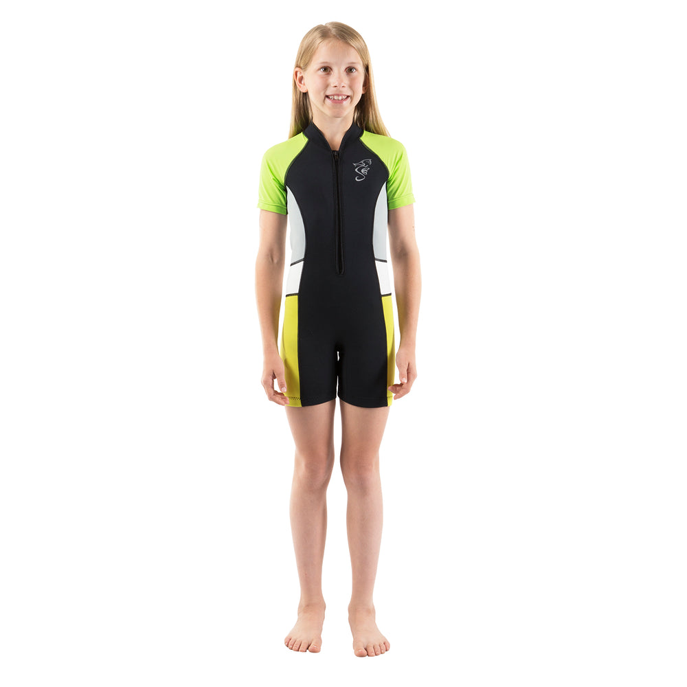 A 2mm neoprene kids' wetsuit with neon yellow side panels and anti-chafing seams.