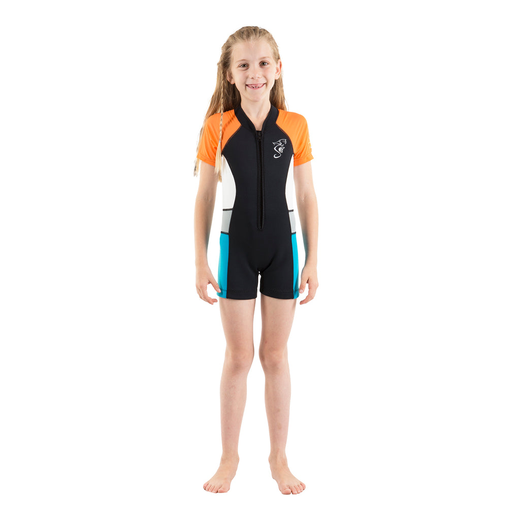 A 2mm neoprene swimsuit or wetsuit for children and toddlers with orange sleeves and white/blue side panels.