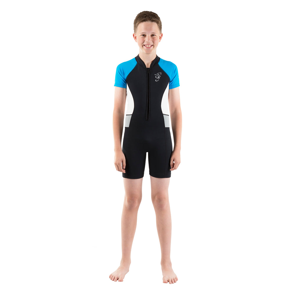 A 2mm neoprene swimsuit or wetsuit for children and toddlers with blue sleeves and white side panels.