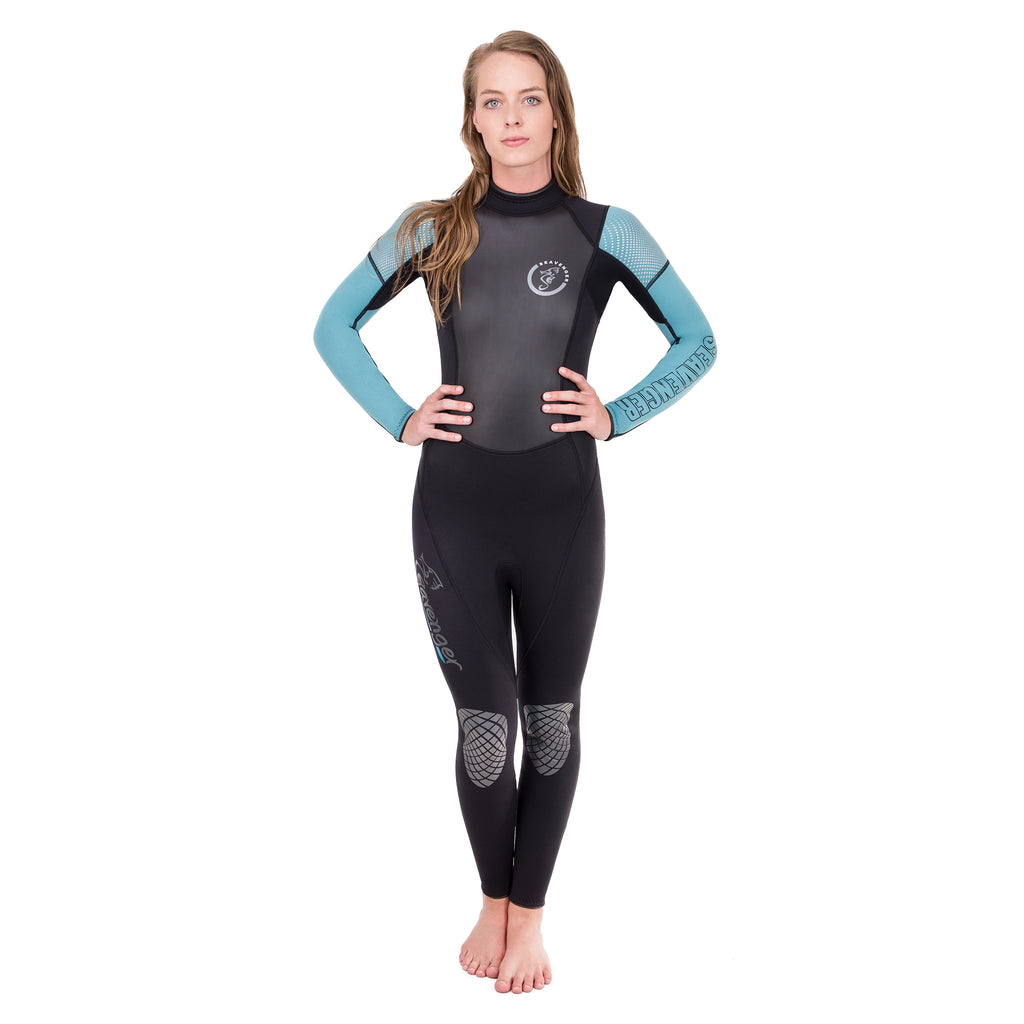A women's 3 millimeter neoprene wetsuit with a black body, teal sleeves and a sharkskin chest panel