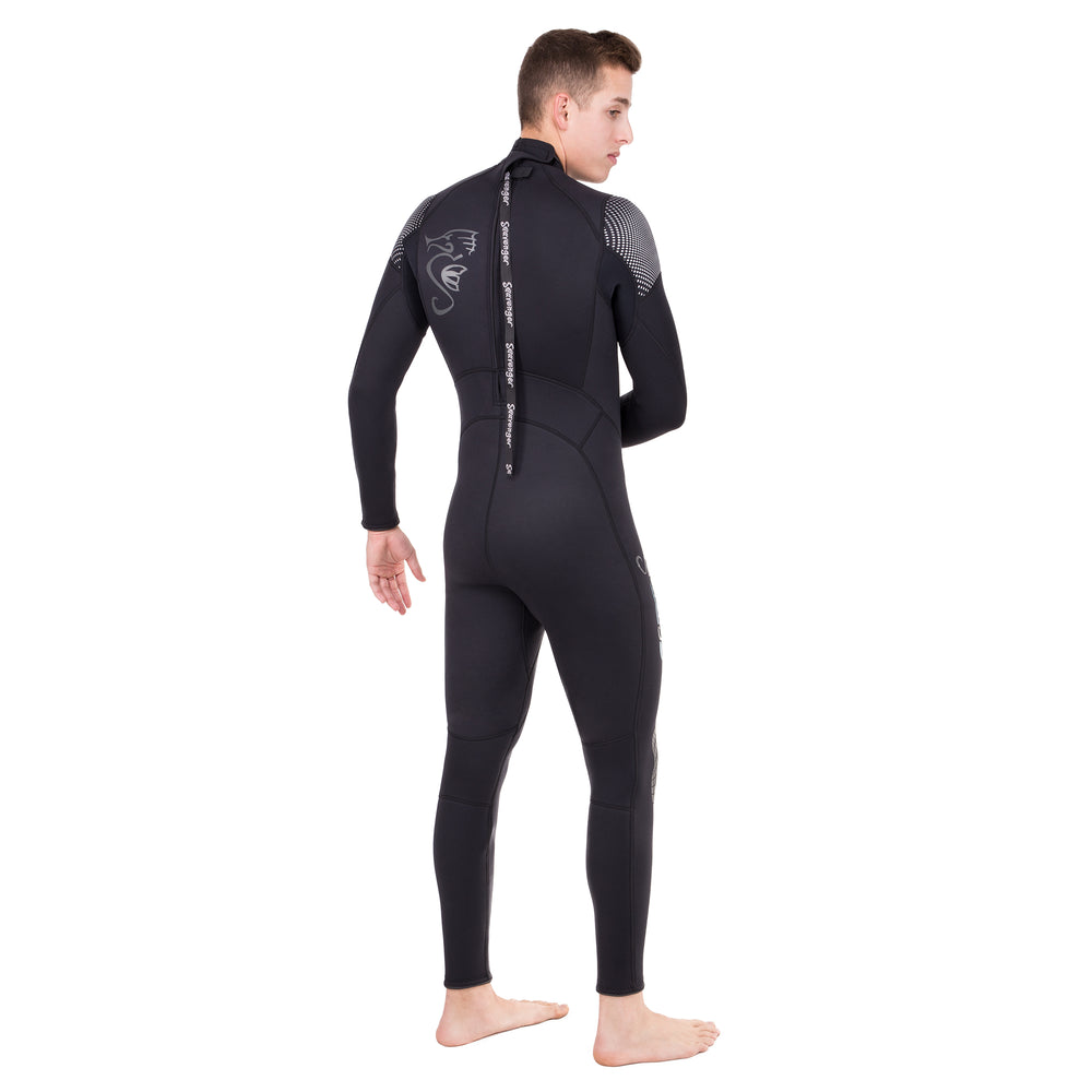 Men's black surfing wetsuit with a sharkskin chest