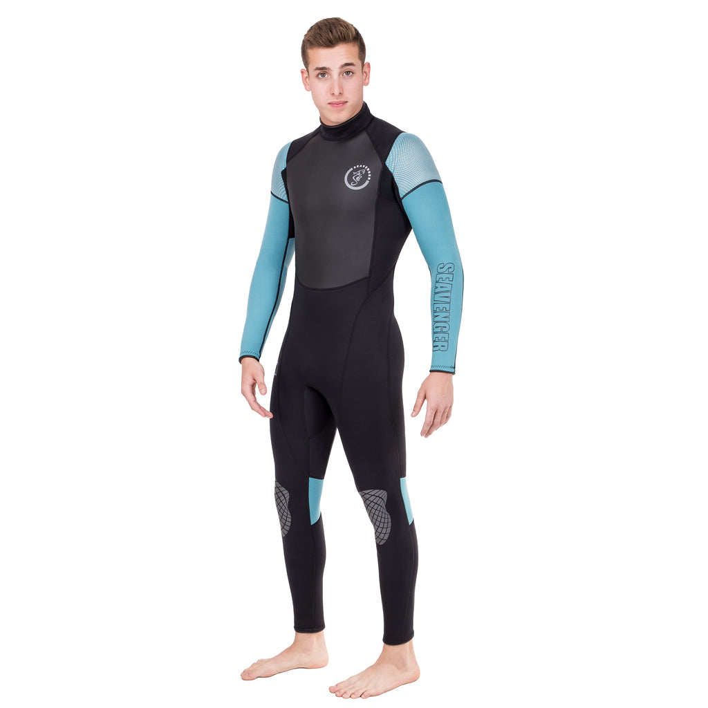 men's black surfing wetsuit with teal sleeves and a sharkskin chest