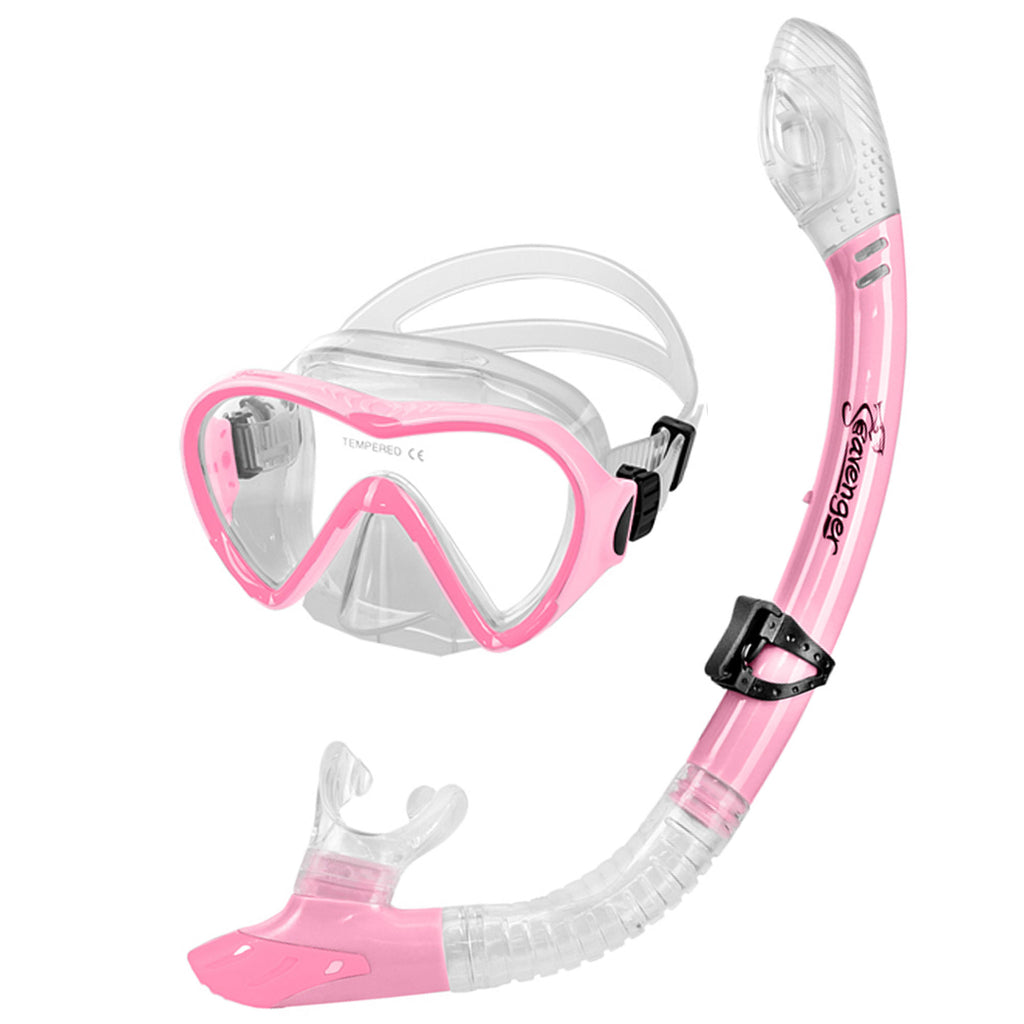 Bubblegum pink dive mask and snorkel set