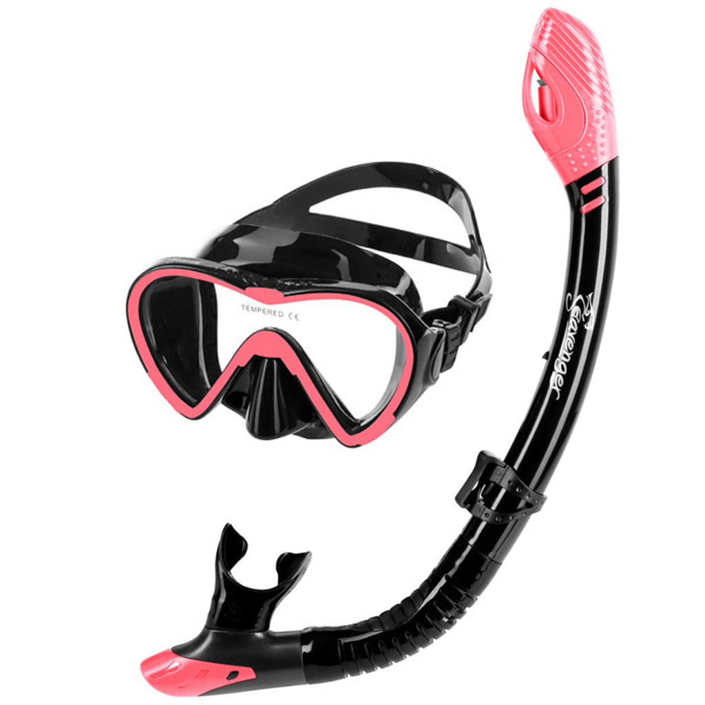 black dive mask and snorkel set with coral