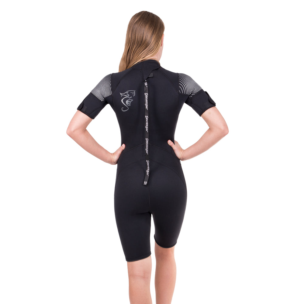 A sleek black shorty wetsuit with 3mm neoprene in a contoured women's cut with a sharkskin chest.