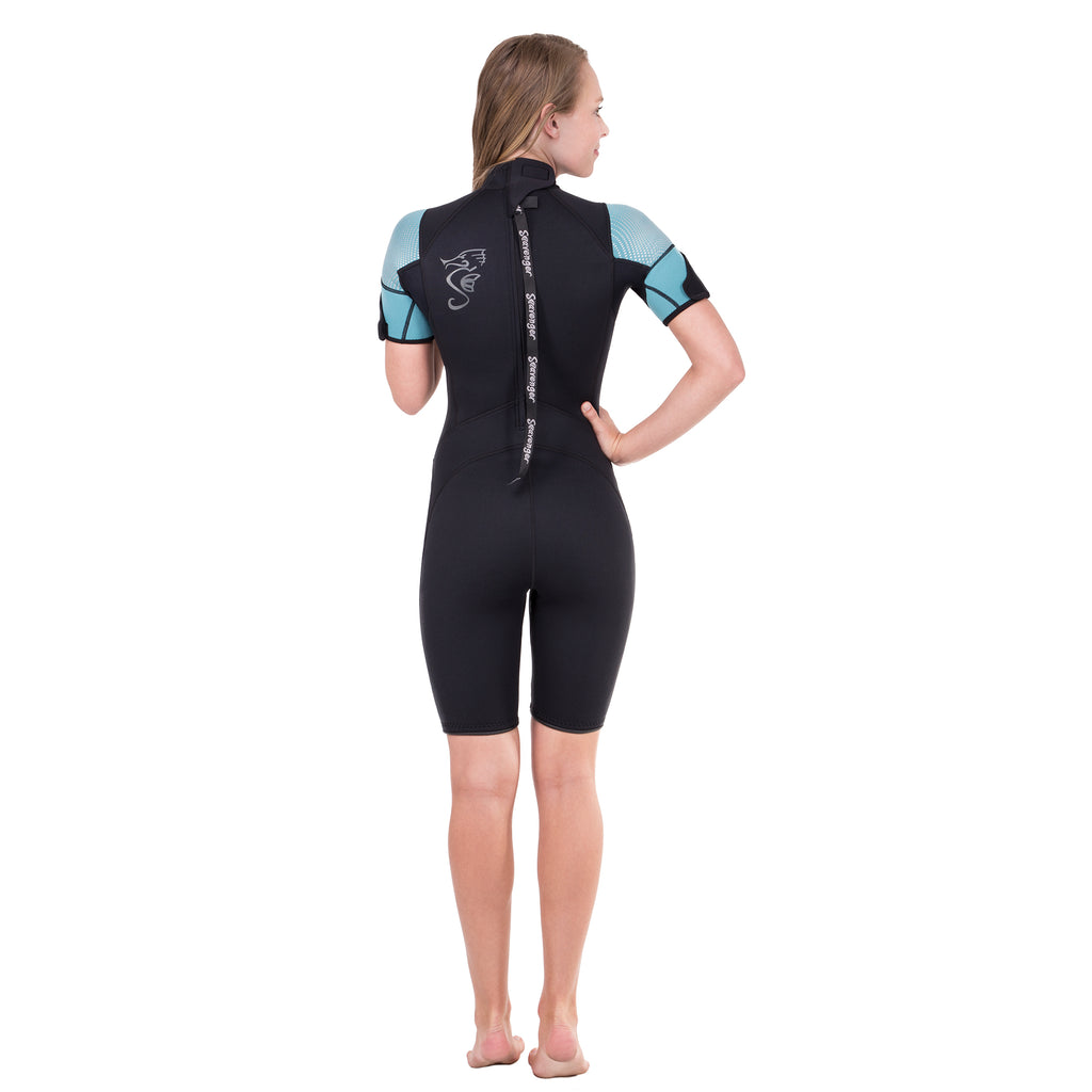 A black shorty neoprene wetsuit with turquoise sleeves and a sharkskin chest panel.