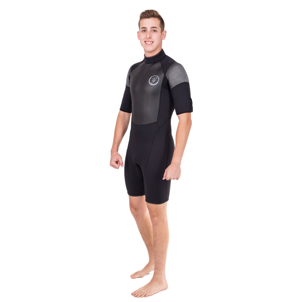 A black 3mm neoprene shorty wetsuit with short sleeves and a sharkskin chest panel for surfing