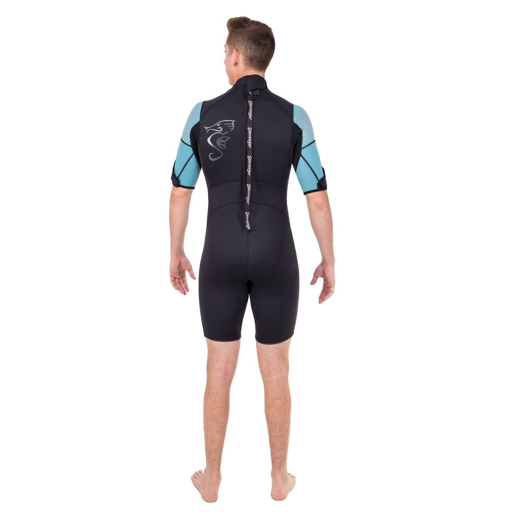 A 3mm neoprene shorty wetsuit with a black body, teal sleeves, and a sharkskin front panel for surfing