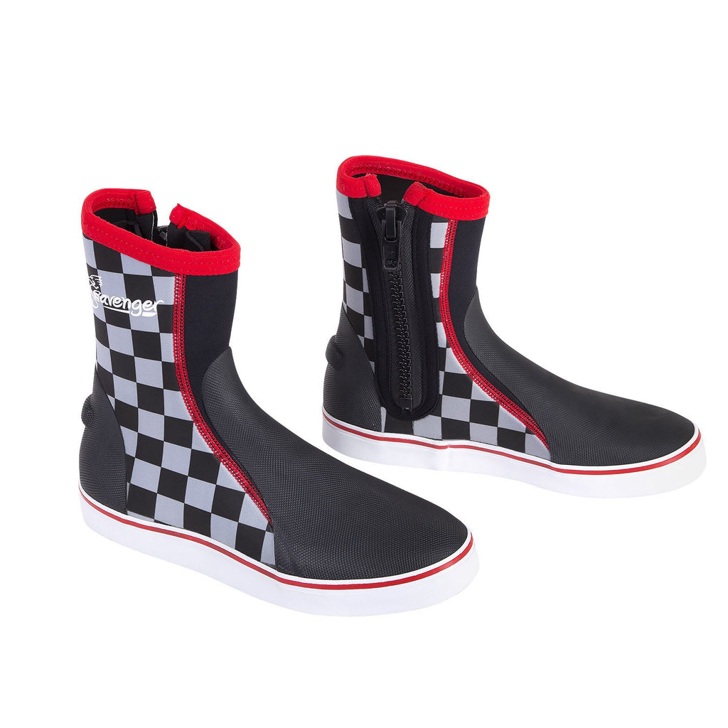 Tall neoprene dive boots with a black and white checkerboard pattern