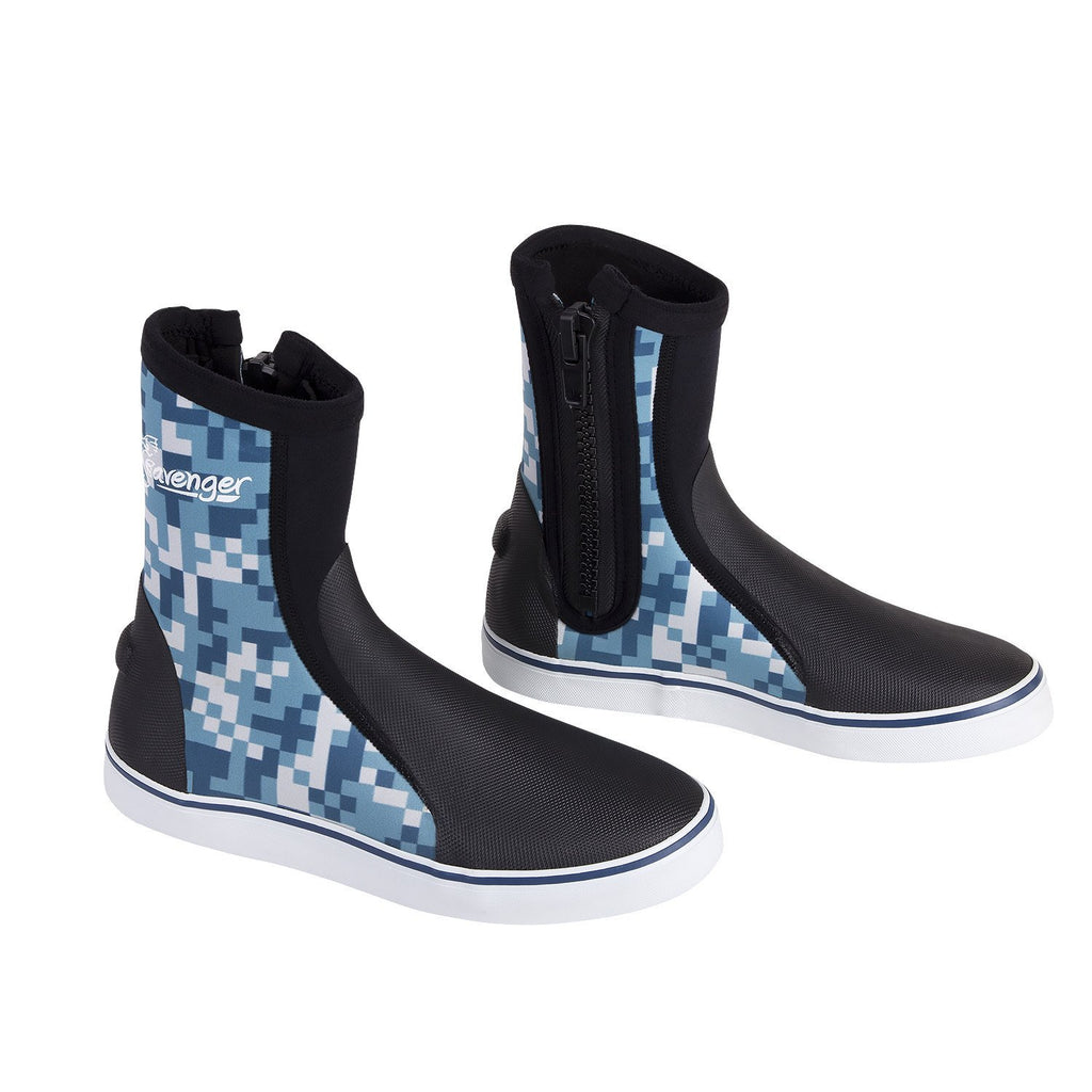 tall neoprene dive boots with blue digital pattern