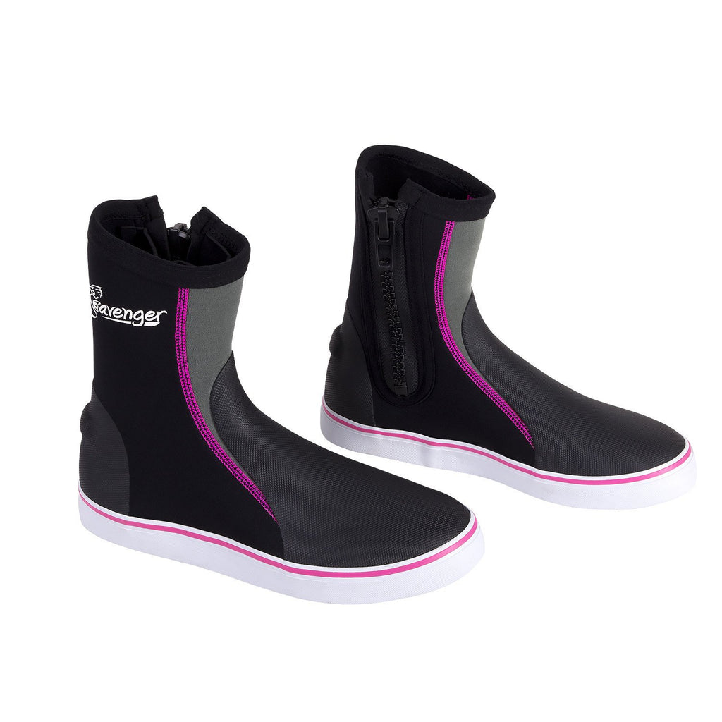 tall neoprene dive boots with pink stitching