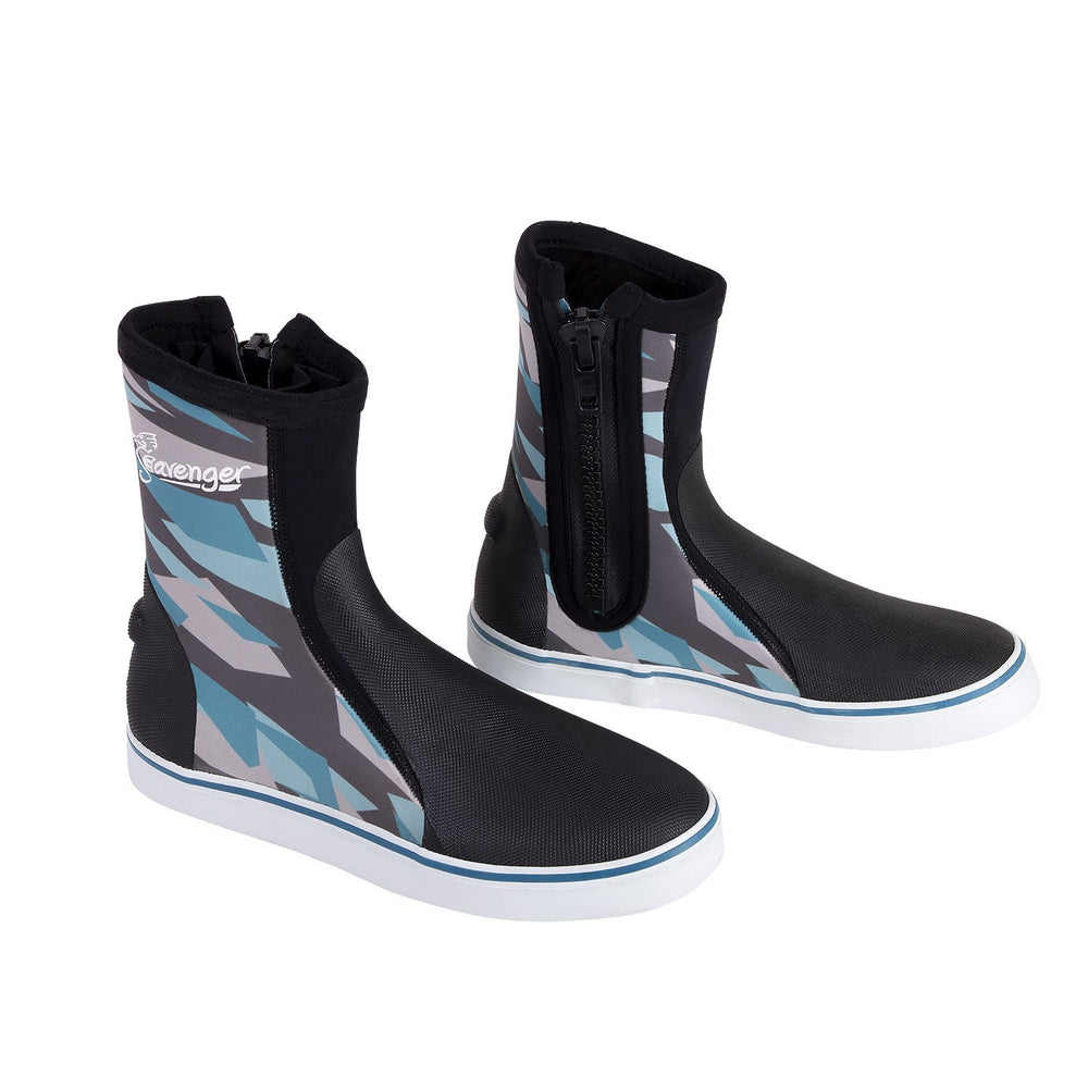 Tall neoprene dive boots with a blue geometric pattern