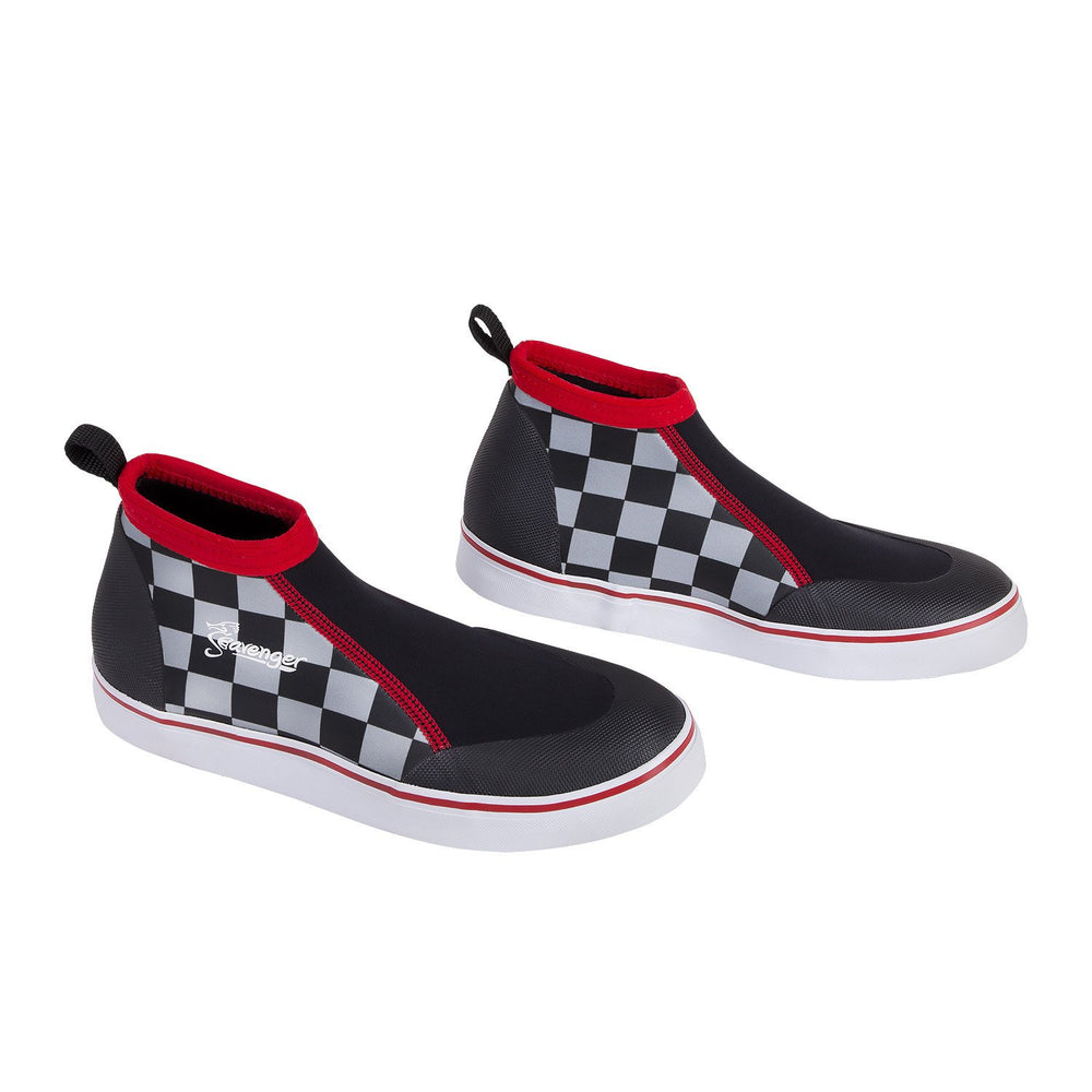 short slip on scuba shoes with a checkerboard pattern and red stitching