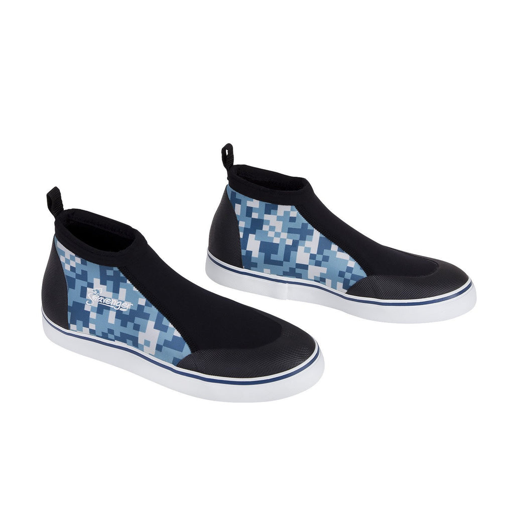 short slip on scuba shoes with a blue geometric pattern