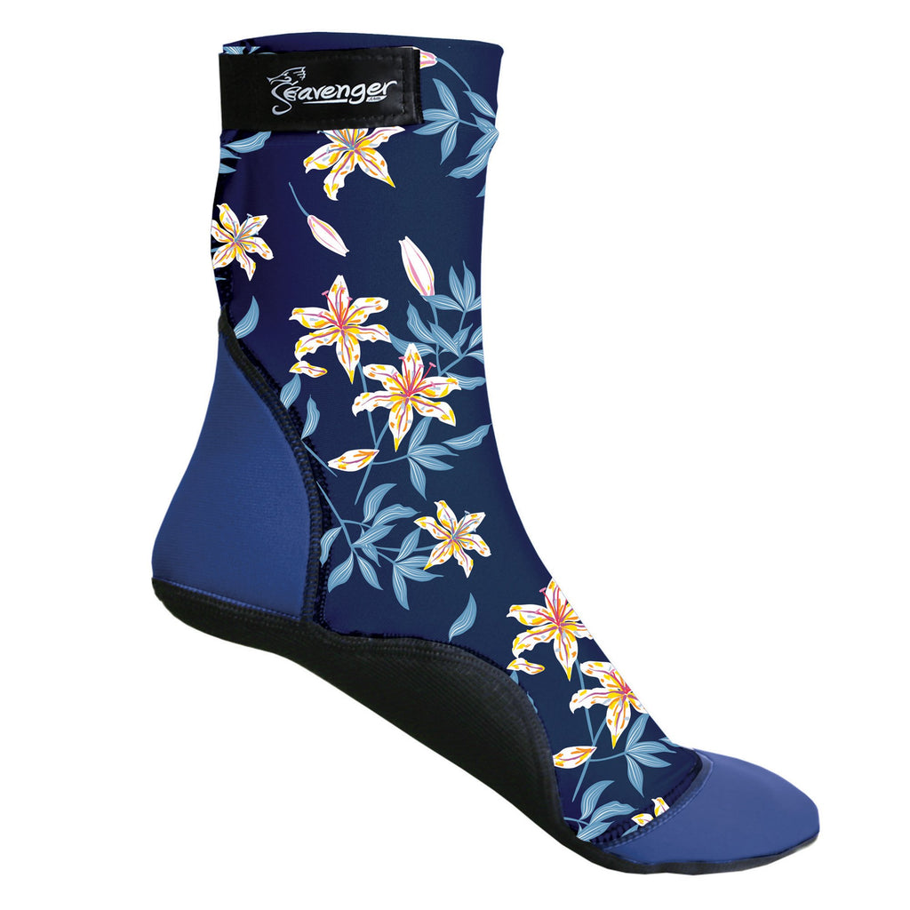 dark blue floral beach socks for sand soccer or volleyball