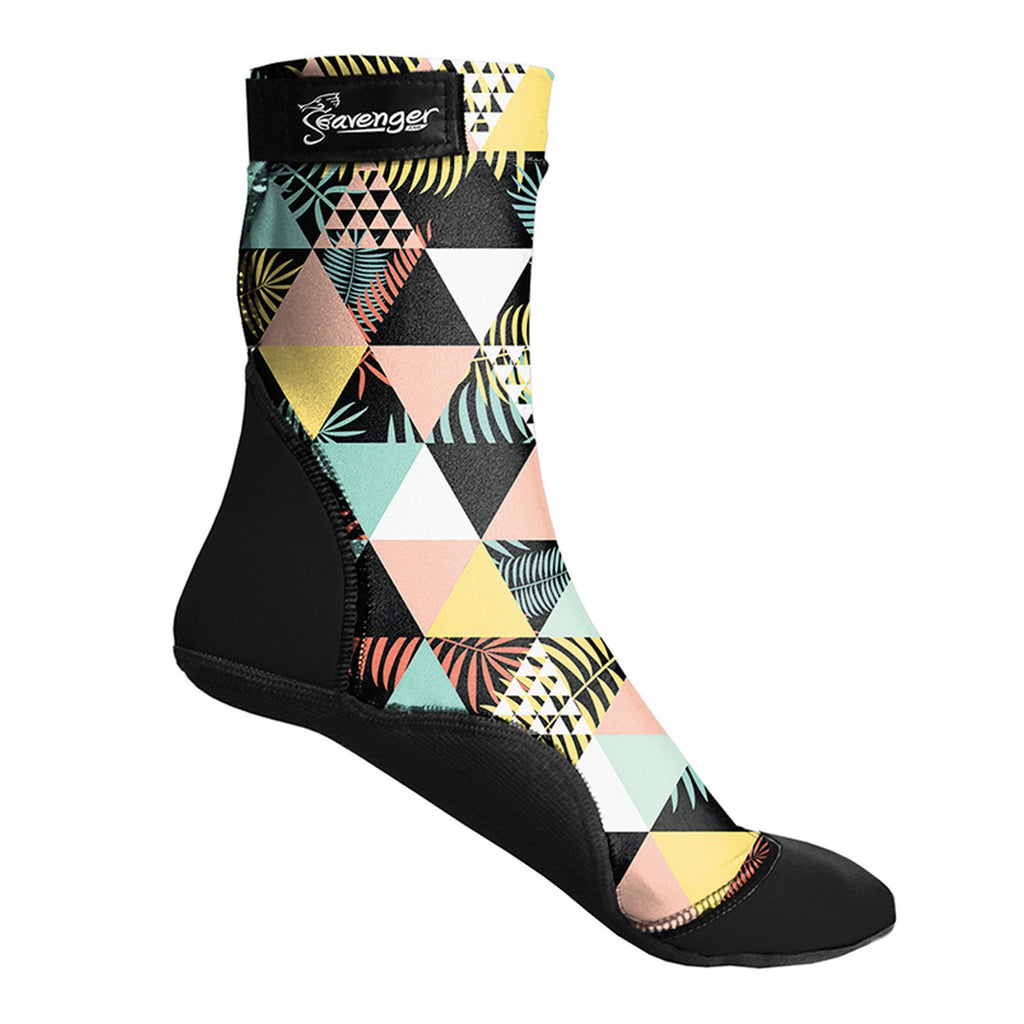 tall beach socks with a geometric pattern for sand volleyball and soccer