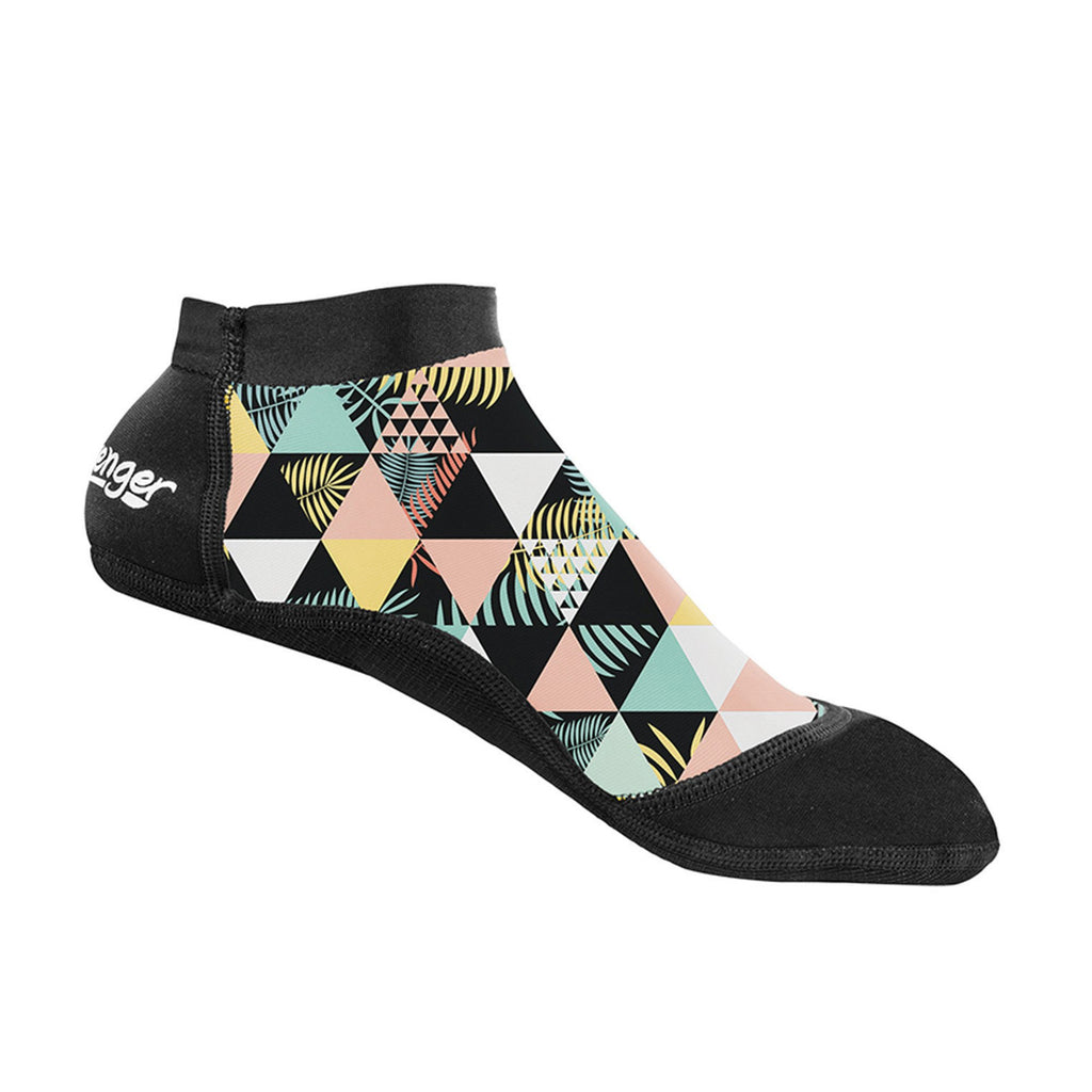 short beach socks with geometric palm pattern for sand volleyball and soccer