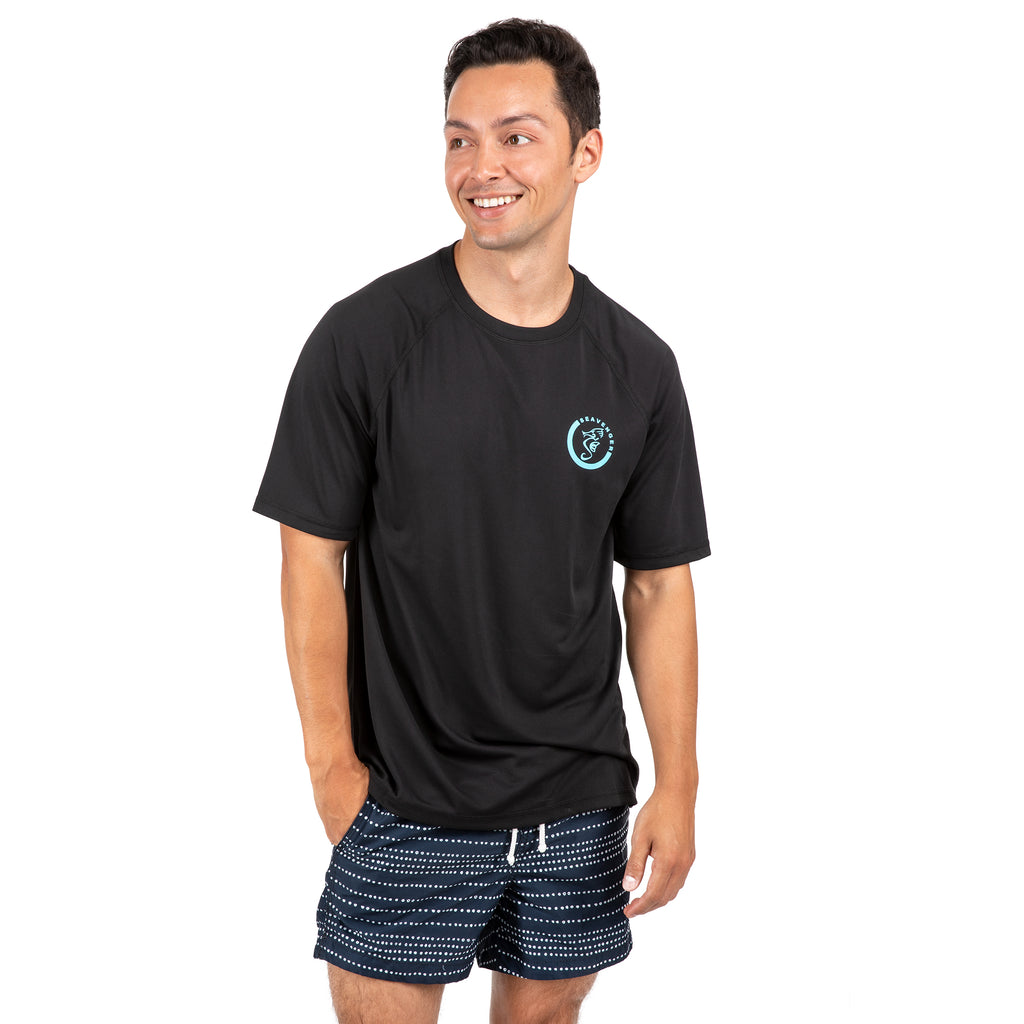 Trekker Unisex Rash Guard Short Sleeve Black