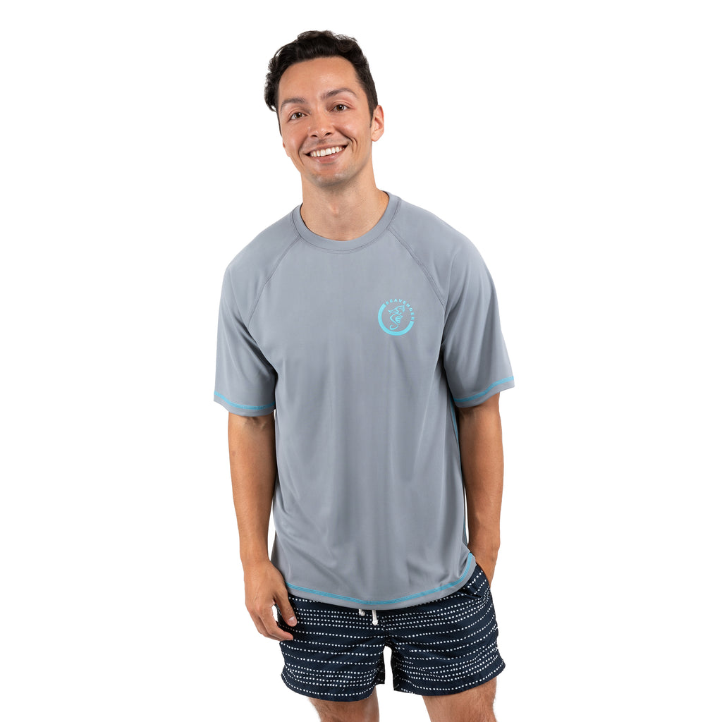 Trekker Unisex Rash Guard Short Sleeve Gray