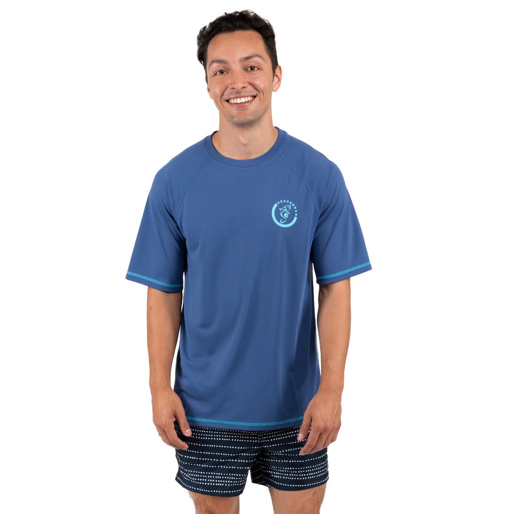 Trekker Unisex Rash Guard Short Sleeve Navy