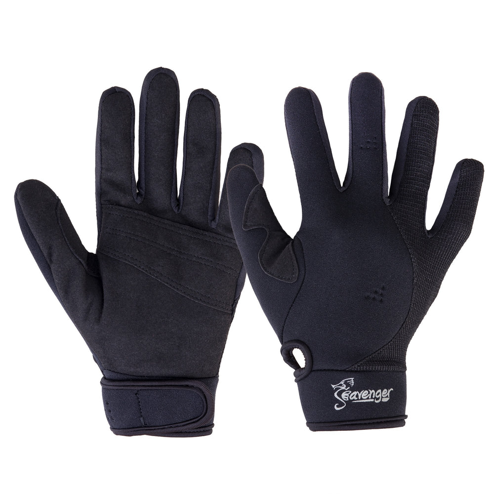 black neoprene dive gloves