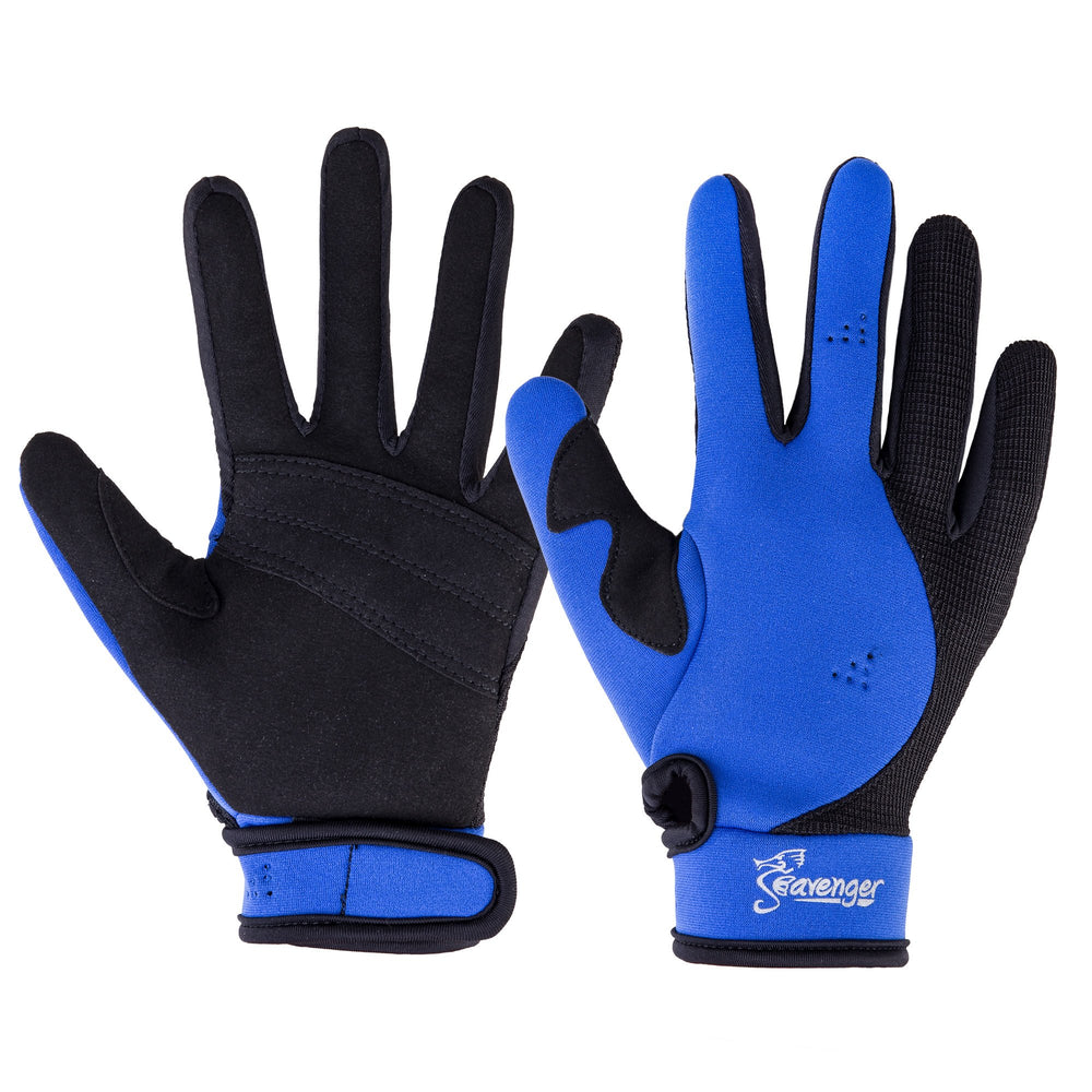 blue neoprene dive gloves