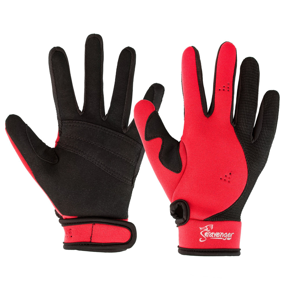 red neoprene dive gloves