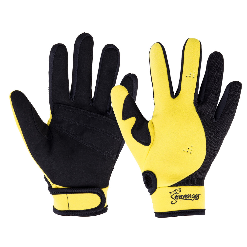 yellow neoprene dive gloves