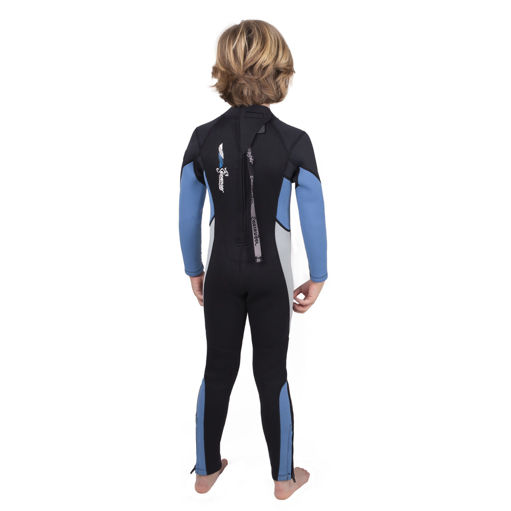 3mm light blue neoprene child wetsuit picture 2