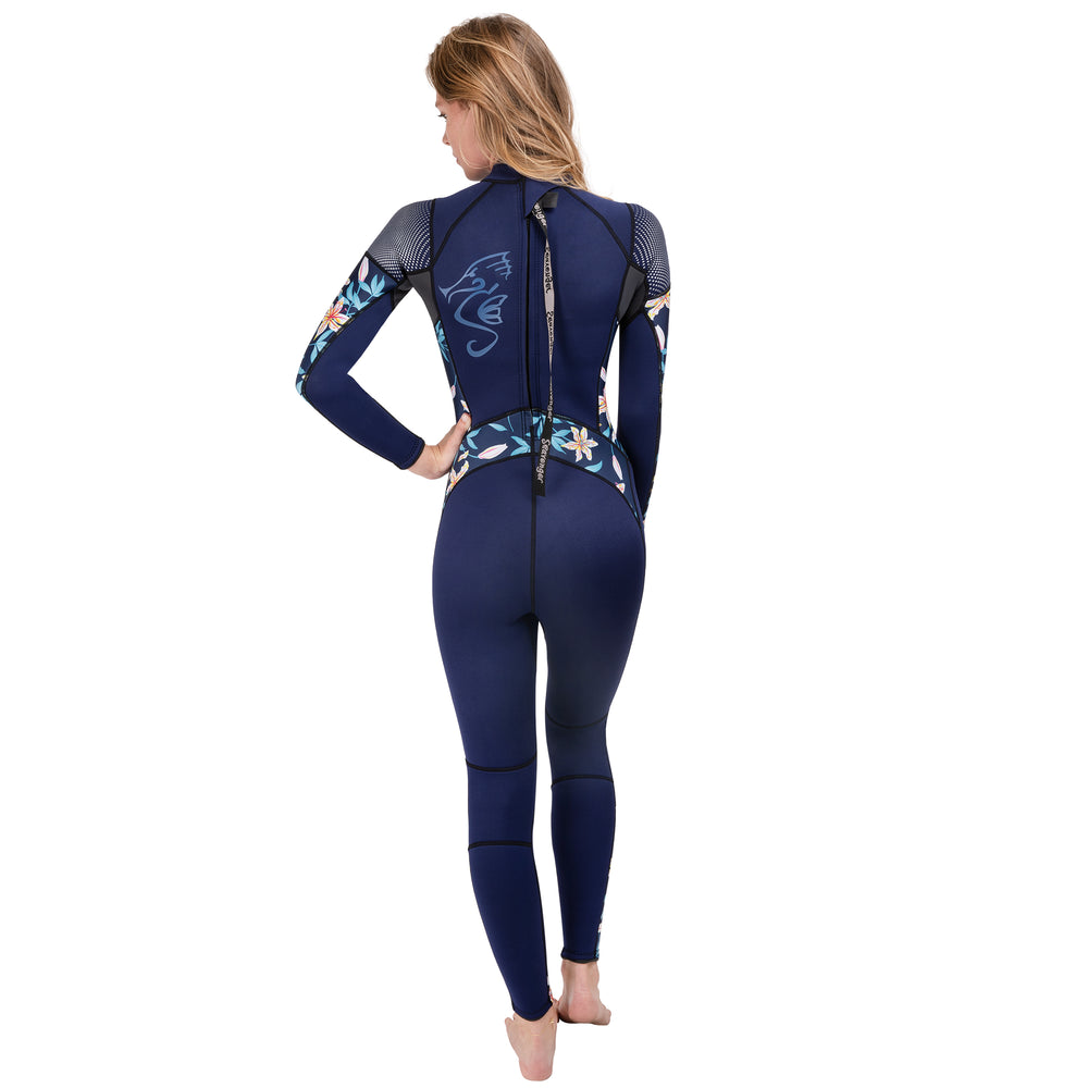 Women's wetsuit in dark floral style 3mm neoprene