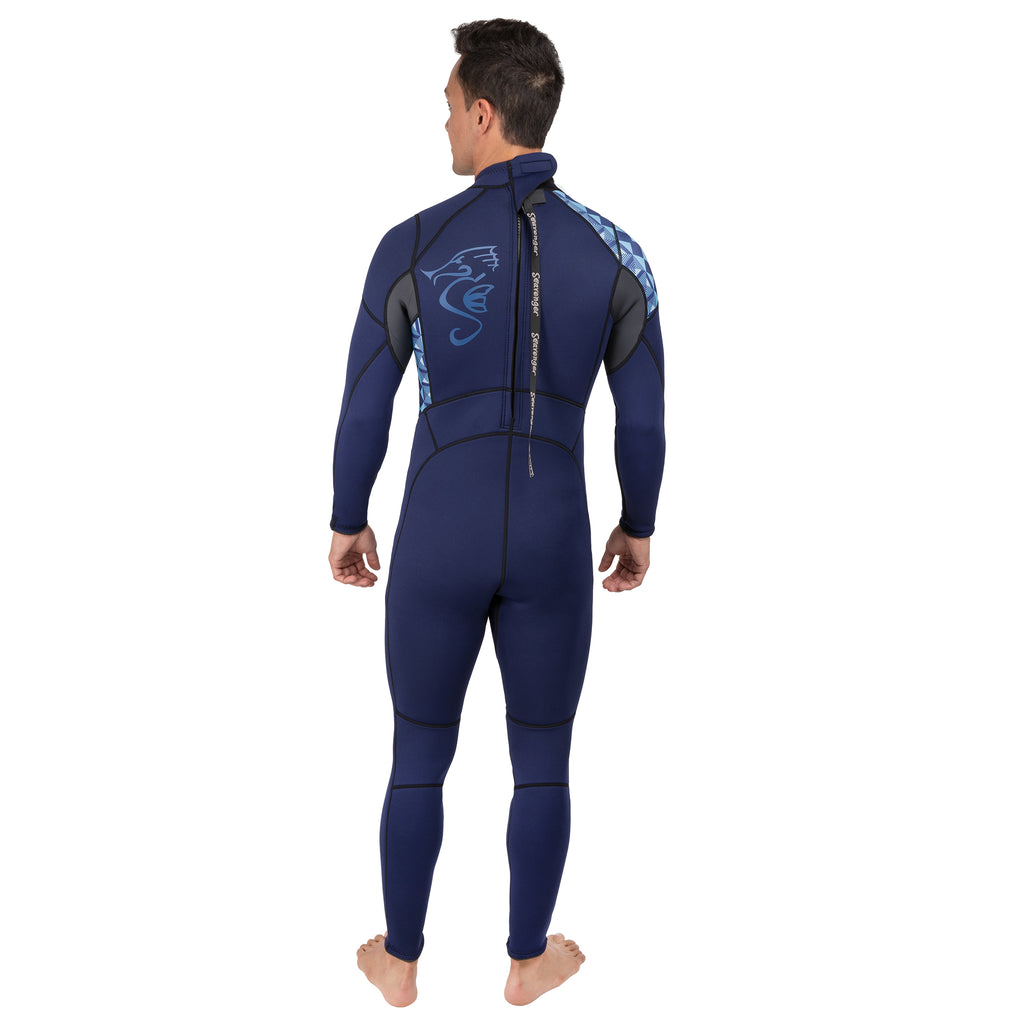 Men's Alpha 3mm Full Wetsuit - Geometric Blue