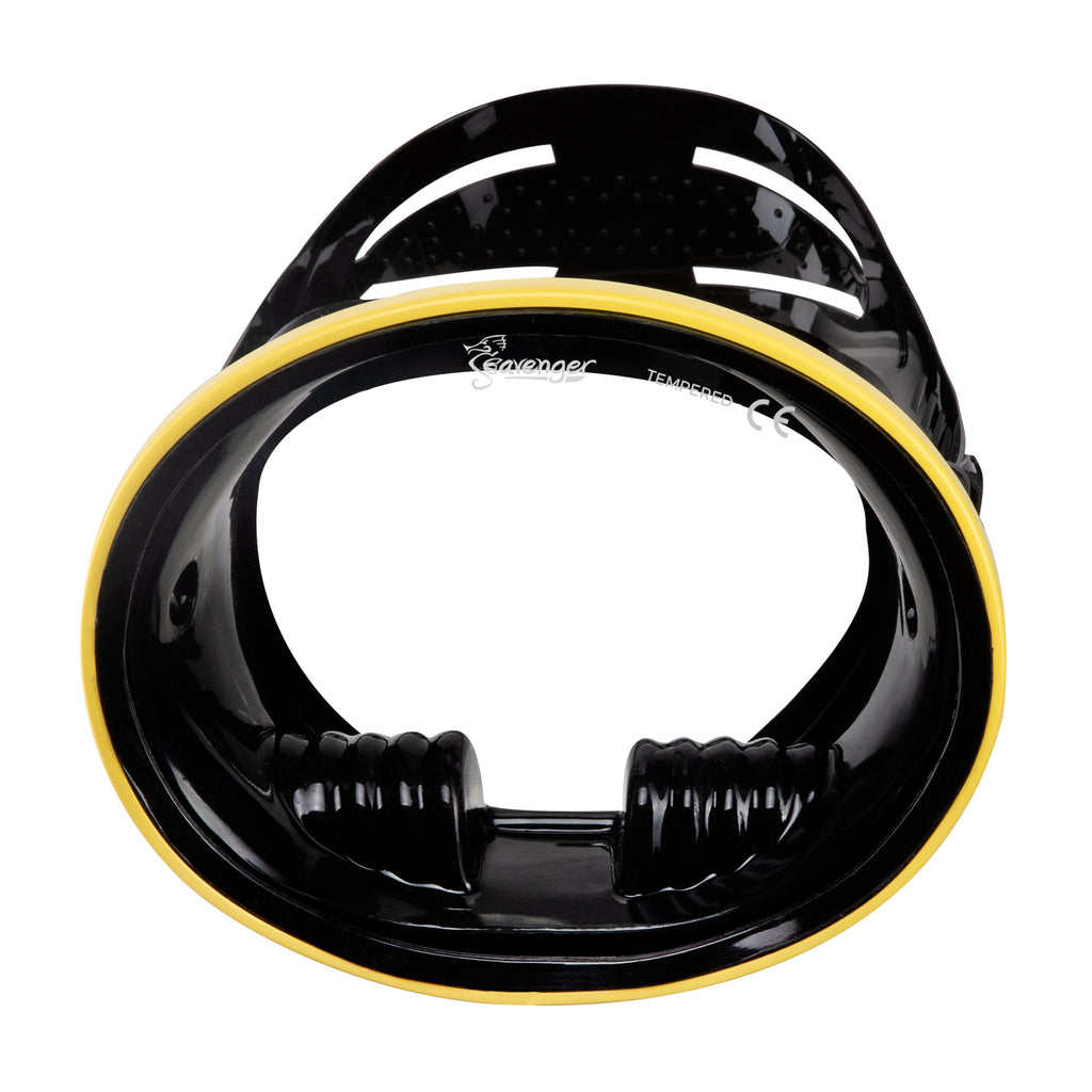 Hydra Oval Dive Mask - Black Silicone/Yellow